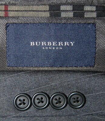 Mens 42 L Burberry London Charcoal Grey  Pinstripe Wool Suit Pleated Front