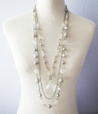 DDS16 Lia Sophia Jewelry Michael Glass & Resin Beads Detachable Necklace RV$130
