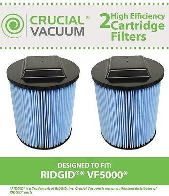 2 Replacement Ridgid VF5000 6-20 Gallon Wet/Dry Units 3-Layer Replacement Filter