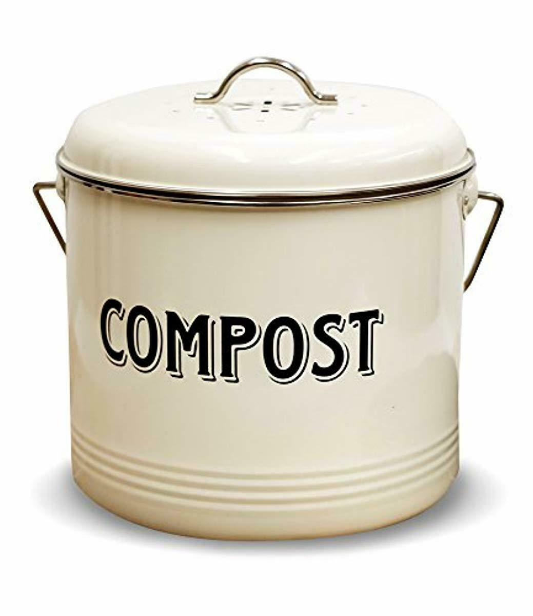 Details about Carbon Steel Compost Bin Recycling Kitchen Pail Trash Keeper  Container Bucket