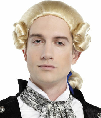 Morris Costumes Men's New Historic Curl 1800's Ponytail Bow Blonde Wig. MR178053 (Halloween Costumes 1800)