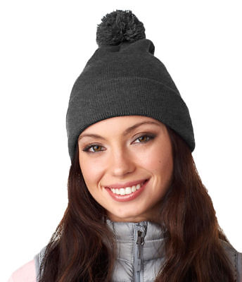 - Ultraclub Women's 100% Acrylic Solid Pom Pom Accent Top Knit Beanie. 8136