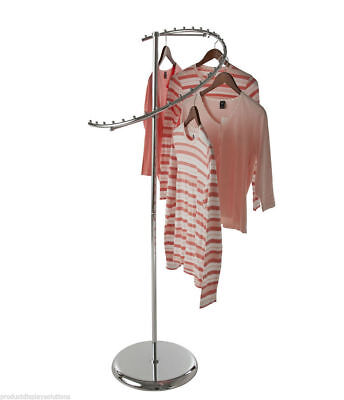 Spiral Clothing Garment Retail Display Rack With 29 Retaining Studs Chrome