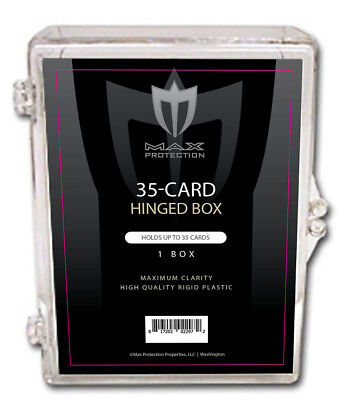 Plastic Hinged Boxes - 5 Max Pro 35 count Hinged Plastic Baseball Trading Card Boxes clear plastic box