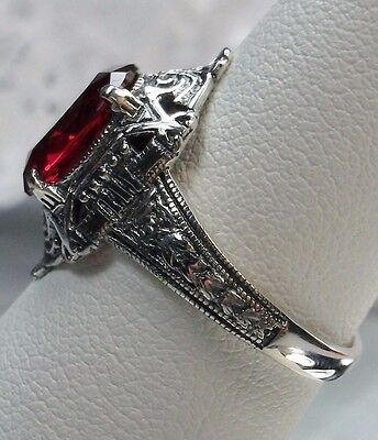 3ct Oval Cut *Ruby/Red* Sterling Silver Filigree Art Deco/Egyptian Ring Size 7