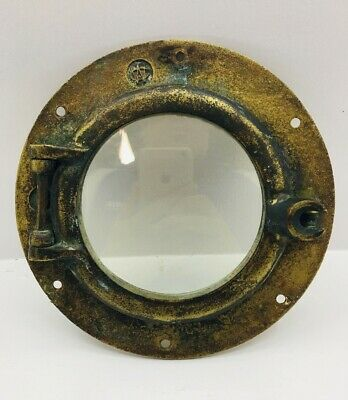 "Antique Vintage WC Wilcox Crittenden #6 Bronze/Brass Porthole 9"" Round 6"" Window"