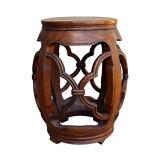 Chinese Round Flower Pattern Wood Drum Stool cs2479