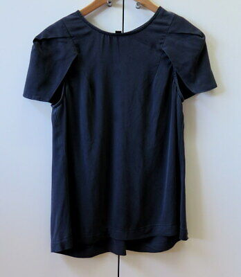Stylish Black Silk Blouse from CUE - Dion Lee - Size 10