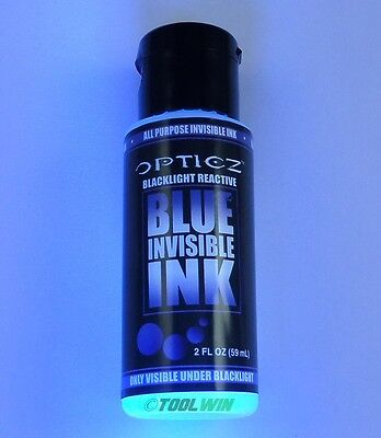 UV Blacklight Reactive Invisible Ink 2oz Bottle Bright Blue Ultraviolet Premium