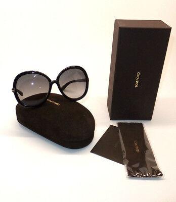 Tom Ford Candice TF 276 01B Women Sunglasses Black Round Gradient AUTHENTIC! U4