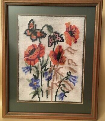 Vintage Butterfly & Flowers Tapestry Framed Wall Art Picture Glazed