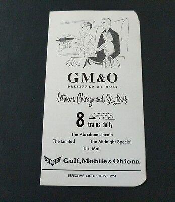 Vintage 1961 GM&O GULF, MOBILE & OHIO RAILROAD  TIMETABLE
