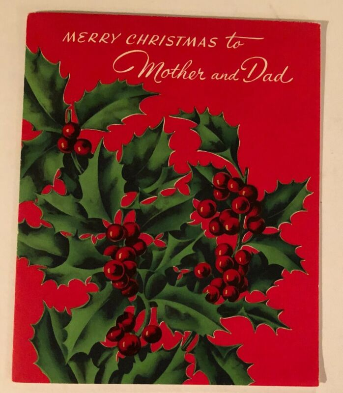 VINTAGE CHRISTMAS CARD & ENVELOPE NEW UNUSED MERRY CHRISTMAS TO MOTHER & DAD