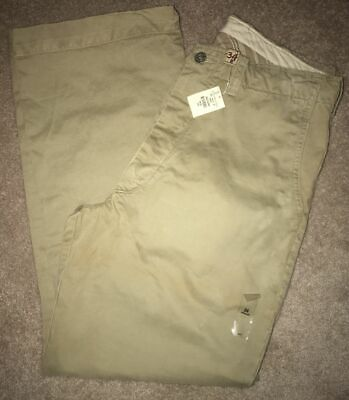 NWT Abercrombie & Fitch Distressed Khaki Ezra Fitch Button Fly Pants Mens 34
