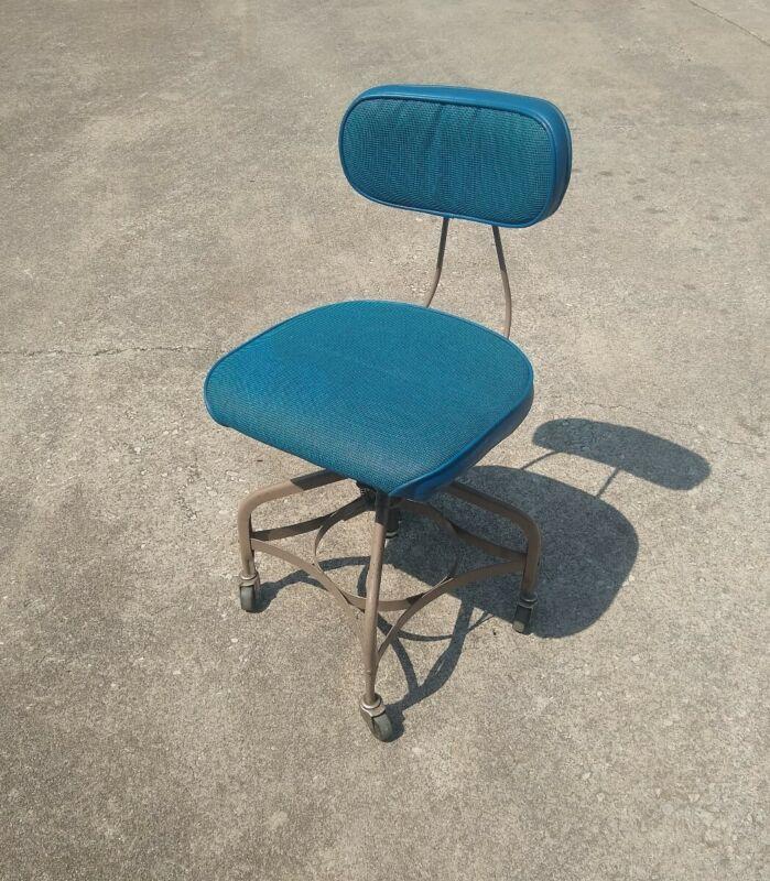 Blue Industrial Office Chair TOLEDO Metal SWIVEL Drafting Adjustable Vintage