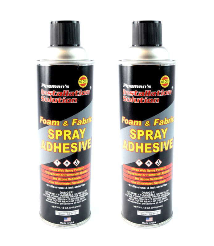 2 Pack Professional Foam Fabric Upholstery Leather Aerosol Adhesive Glue Spray