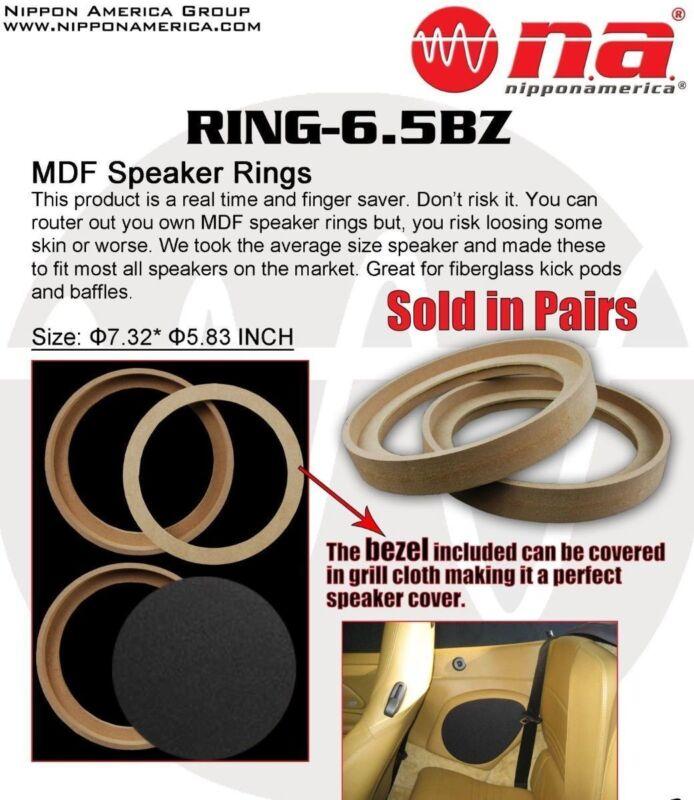 "6.5"" MDF SPEAKER RINGS WITH BEZEL 3/4"" CUSTOM CAR AUDIO INSTALL FIBERGLASS READY"