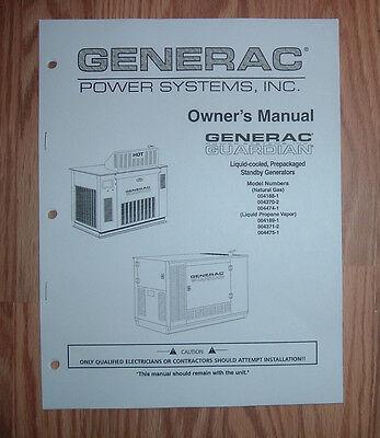 GENERAC GUARDIAN MODEL 004475-1 GENERATOR OWNERS/ PARTS LIST MANUAL (Guardian Generator Manual)