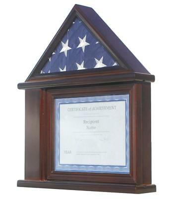 litary Shadow box for 3'X5' U.S.A Flag, Walnut Finish (Flag Display Cases)