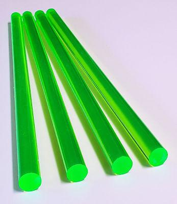4 Pcs 12 X 18 Clear Green Fluorescent Acrylic Plexiglass Rod .5 Inch Diameter