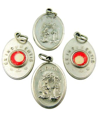 Saint St Rita Silver Tone Medal with 3rd Class Cloth Relic, Lot of 4, 1 (Division 4 Clothing)