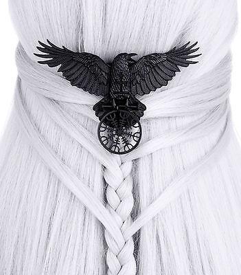 Gothic Witchy Hexe Rune Rabe Krähe Hugin Munin Haarspange Hairclip Haarschmuck