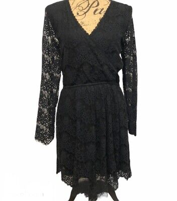 NEW Abercrombie Fitch Black Lace Long Sleeve Wrap Dress Womens Size Large A&F