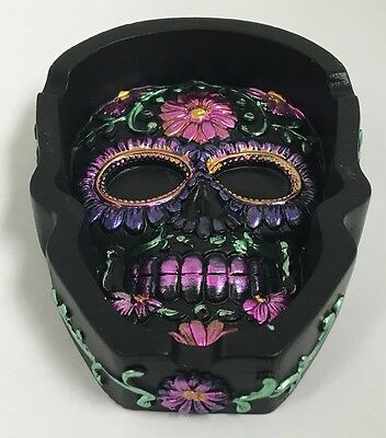 Metallic Purple Sugar Skull Day of the Dead Flat Ashtray Dia de Los Muertos New
