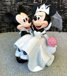 Mickey And Minnie Mouse Bride Groom Wedding Cake Topper
