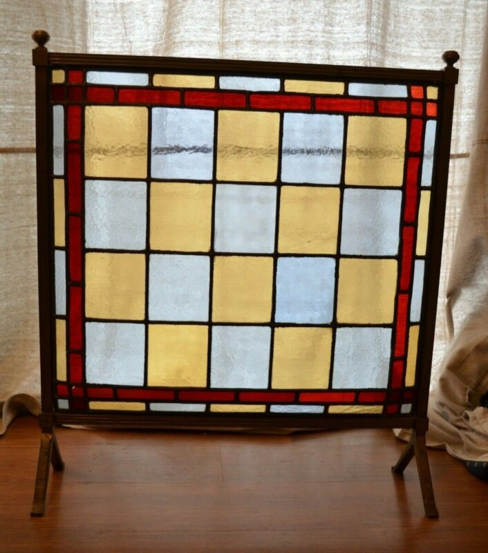 Edwardian Antique Stained Glass Fireplace Screen ~ 3-D Design ~ Textured Glass ~