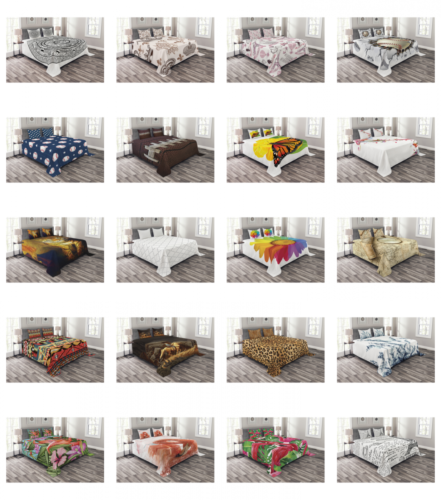 Bed Coverlet Set by Ambesonne Quilted Pillow Shams with Deco