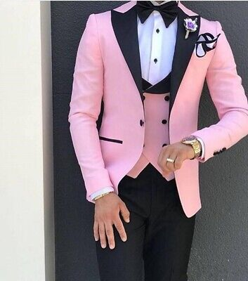 Slim Groom Tuxedos Pink with Black Lapel Men Suit Formal Wedding Prom Party Suit - Pink Tuxedo