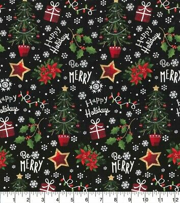 Fabric Traditions - Christmas Happy Holiday Be Merry Toss Black - Cotton YARD ()