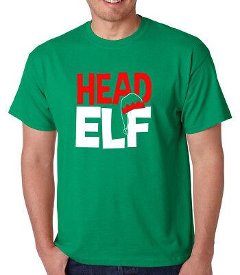 HEAD ELF Santa's helper North Pole Christmas toy maker present crew neck T-Shirt