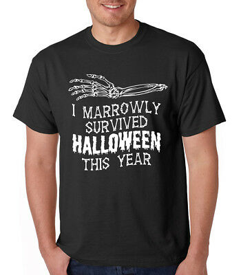 I MARROWLY SURVIVED HALLOWEEN THIS YEAR pun meme bone skeleton Crew Neck T-Shirt](Halloween Puns Meme)