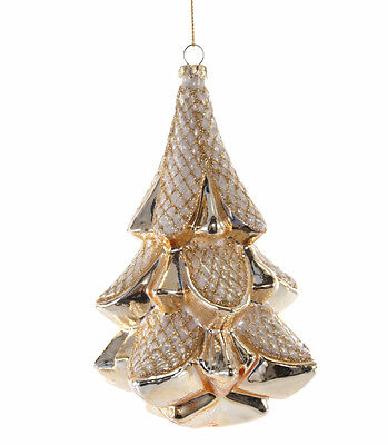 Gold White Glass Tree Christmas Ornament - Katherine's Collection 18-649021