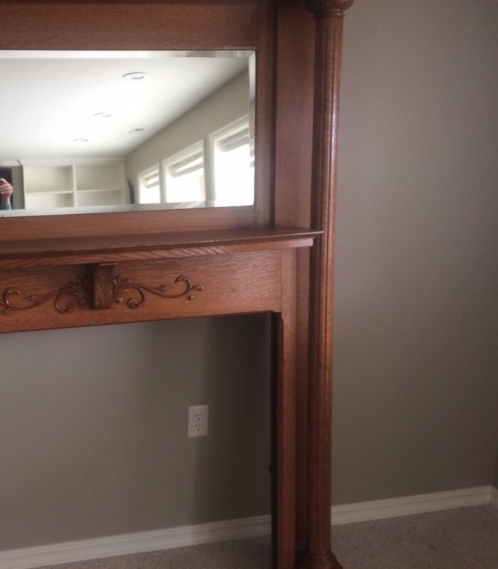 Antique Fireplace Mantle - custom built Oak with inset mirror.