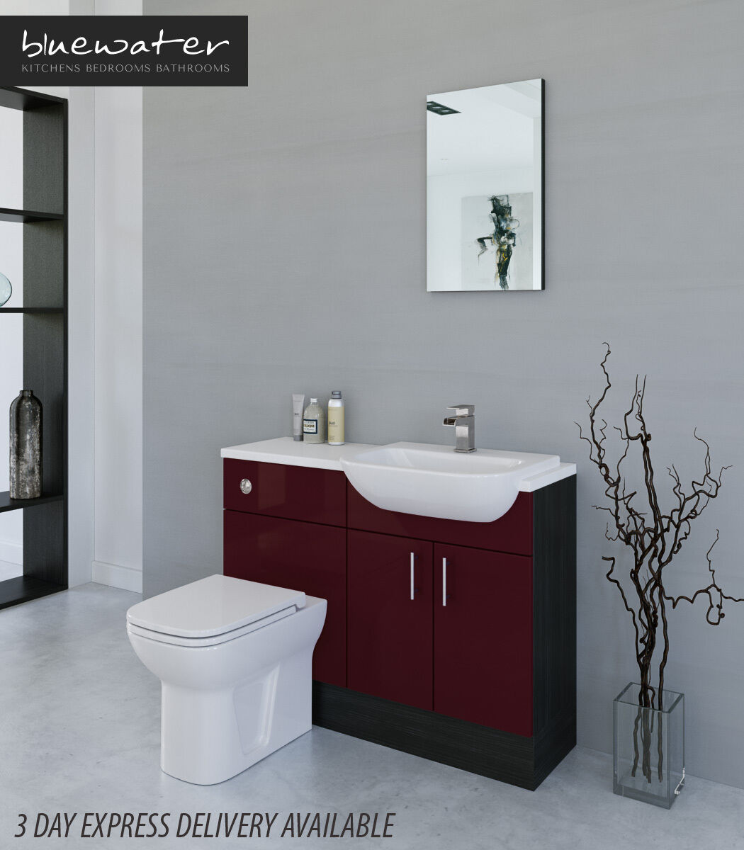 Fitted Bathroom Furniture Manufacturers: BURGUNDY / HACIENDA BLACK BATHROOM FITTED FURNITURE 1100MM