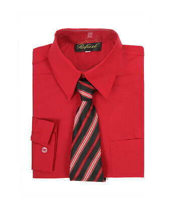 boys red claret formal dress shirt with matching tie for Easter wedding church