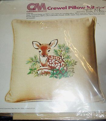 Fawn -  1976 Erica Wilson Crewel Embroidery Pillow Kit.