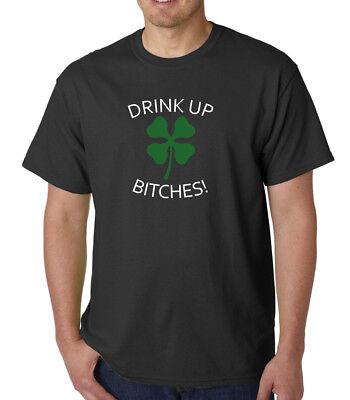 Clover Green T-shirt (Drink Up Bitches Green Clover T-Shirt Shamrock Pattys St Patricks Day Tee Shirt)