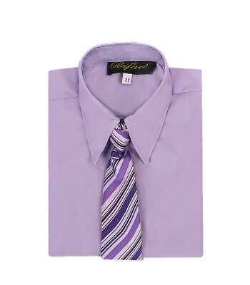 boys lilac Wysteria light purple formal dress shirt with matching tie Easter -