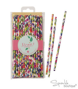 FLORAL-FIESTA-PAPER-STRAWS-Summer-Garden-Party-BBQ-Luau-FULL-RANGE-IN-SHOP
