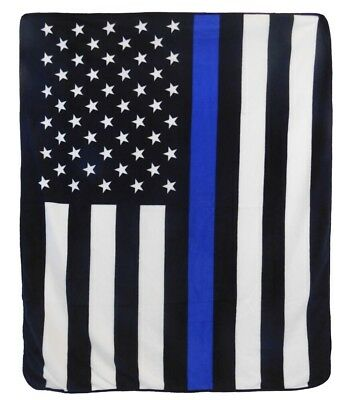 USA American Thin Blue Line 50x60in Throw Blanket Blue Lives Matter Police Lives