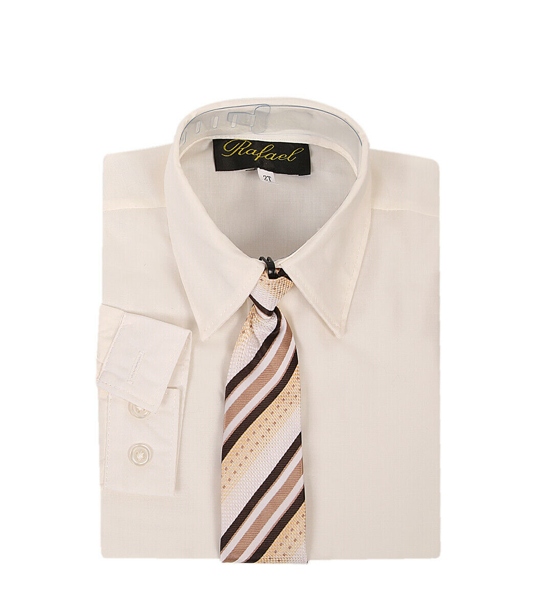 boys ivory cream formal dress shirt with matching tie for Ea