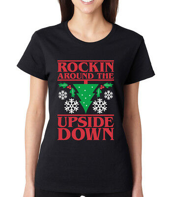 ROCKING AROUND THE UPSIDE DOWN Christmas tree present Crew Neck Women's T-Shirt ()