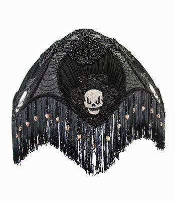 Victorian Skull Lampshade Day Of The Dead Halloween Gothic Katherines New - Halloween Lamp Shades