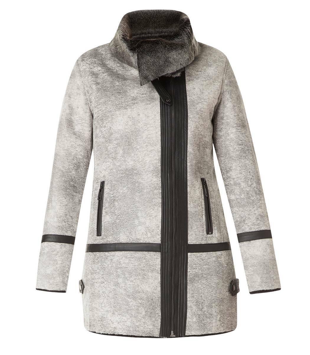 Vintage Kunstleder-Jacke Damen gefüttert XXL große Größen Herbst Winter