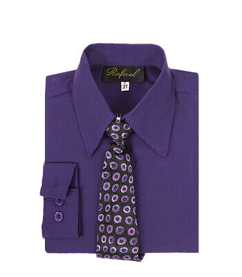 boys purple Lapis Eggplant formal dress shirt with matching tie for -