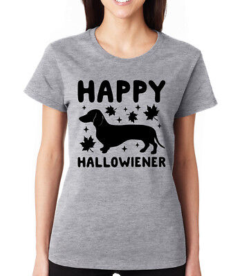 HAPPY HALLOWIENER cute dachshund pun joke meme halloween witches Women's T-Shirt